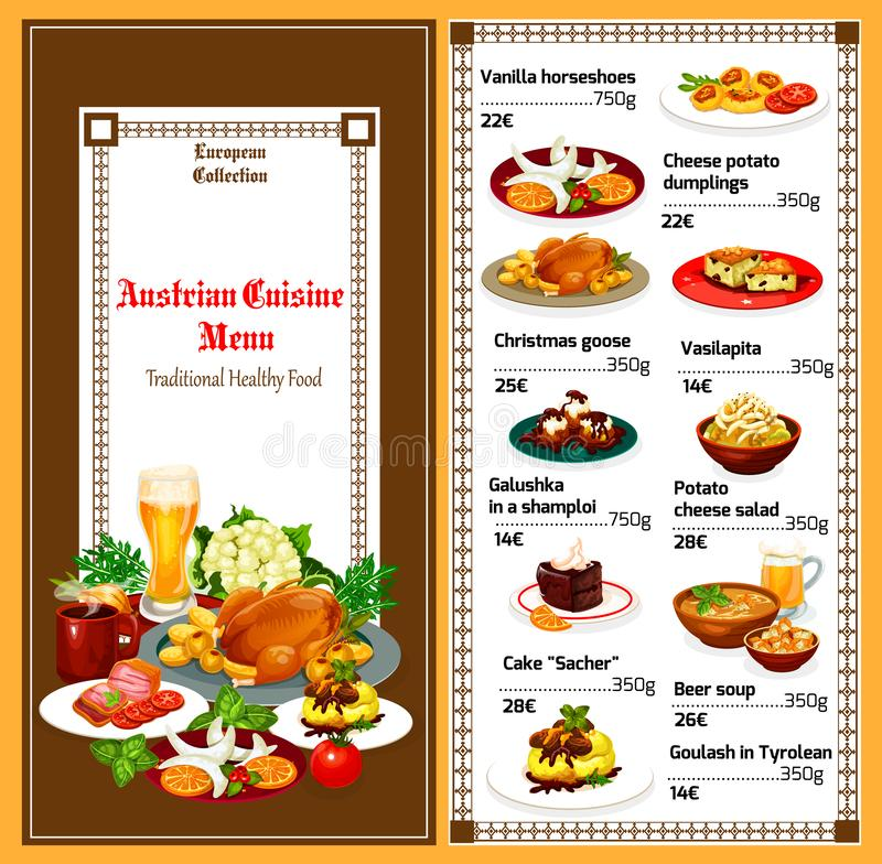 Austrian cuisine traditional lunch dishes menu. Austrian cuisine food menu. Vector breakfast or lunch of vanilla horseshoes, cheese potato dumpling or Christmas vector illustration