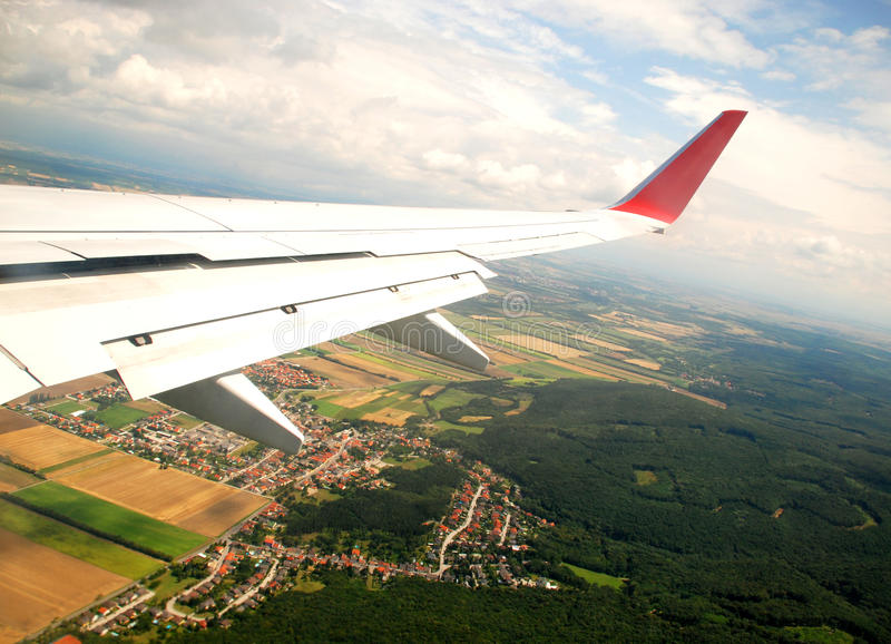 Austrian cultivated land seen from a plane stock photos