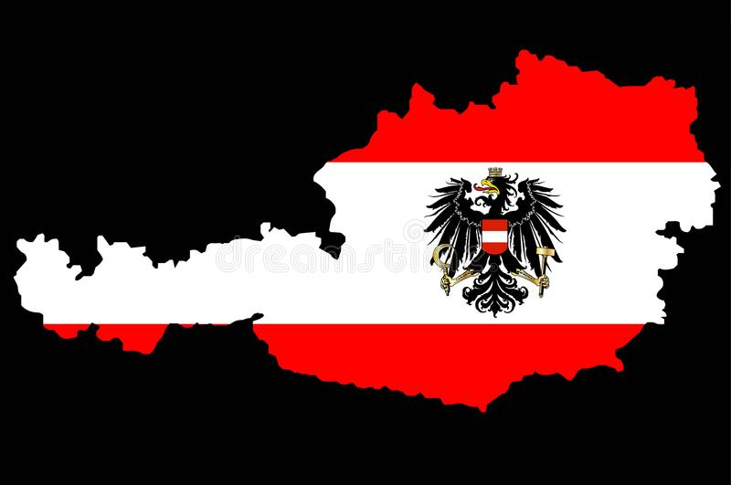 Austrian Flag and Map. The Austrian flag with the coat of arms over layed inset intoa outline of the map of Austria vector illustration