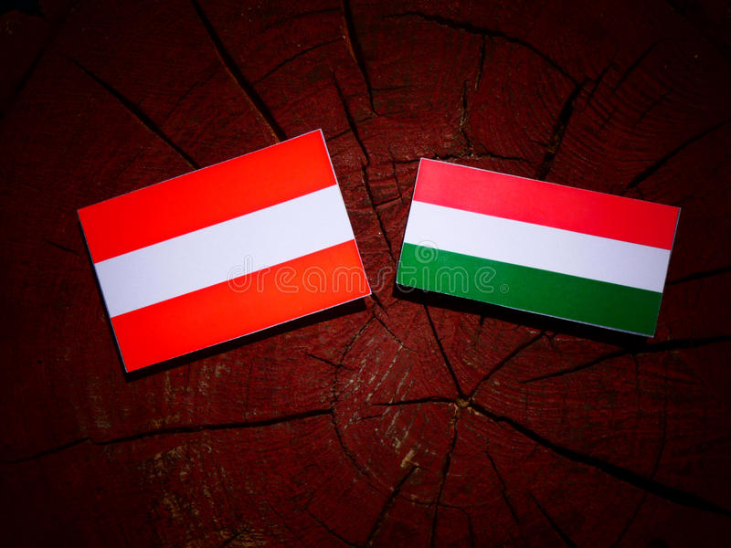 Austrian flag with Hungarian flag on a tree stump isolated. Austrian flag with Hungarian flag on a tree stump stock illustration