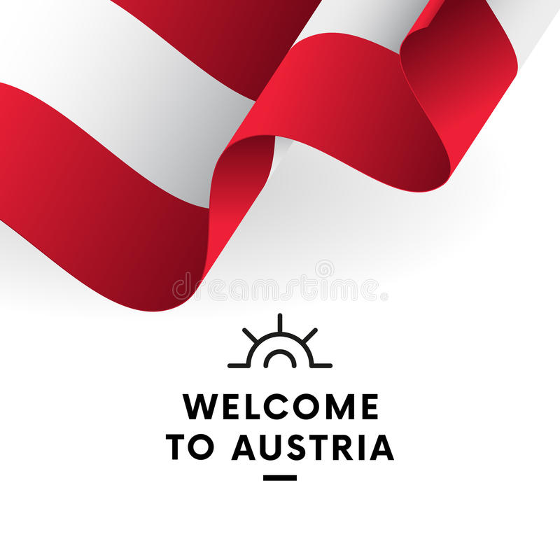 Austrian flag. Vector. Welcome to Austria. Patriotic design. Austrian waving flag with shadow. Vector stock illustration