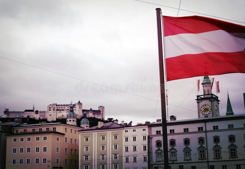 Austrian Flag on a windy day stock images