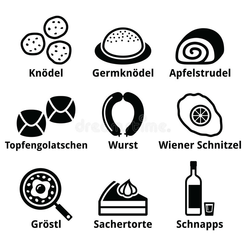 Austrian food - traditional meals an drink icons set. Vector icons set of Austrian popular food isolated on white royalty free illustration