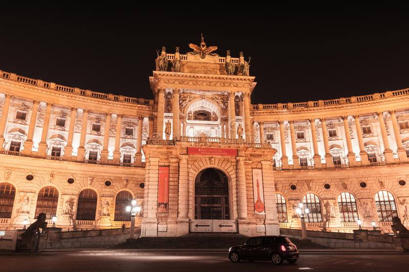 Austrian National Library building at night, Vienna. Vienna, Austria - November 4, 2015: Austrian National Library building at night, Hofburg complex stock image