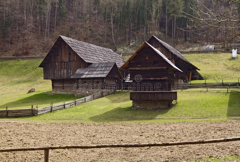 Austrian Open-Air museum Stuebing near Graz: Barns, Winkl near E royalty free stock images