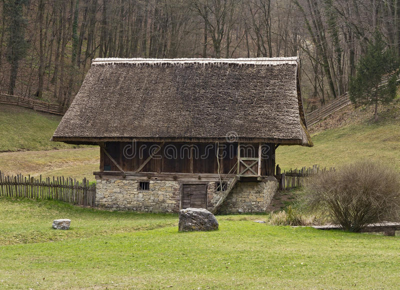 The Austrian Open-Air museum Stuebing near Graz. Open-Air Museum Stuebing: Unique barn and byre with straw-thatched roof from South Tyrol royalty free stock image