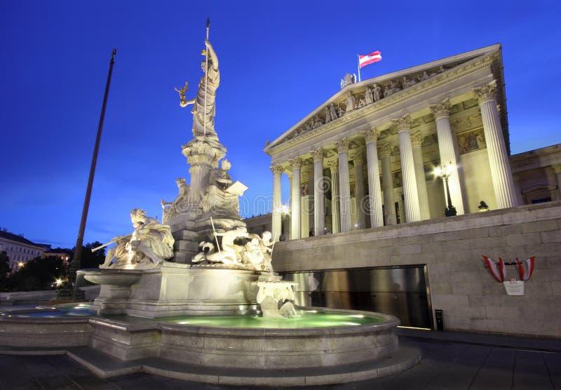 Austrian Parliament in Vienna by night stock photo