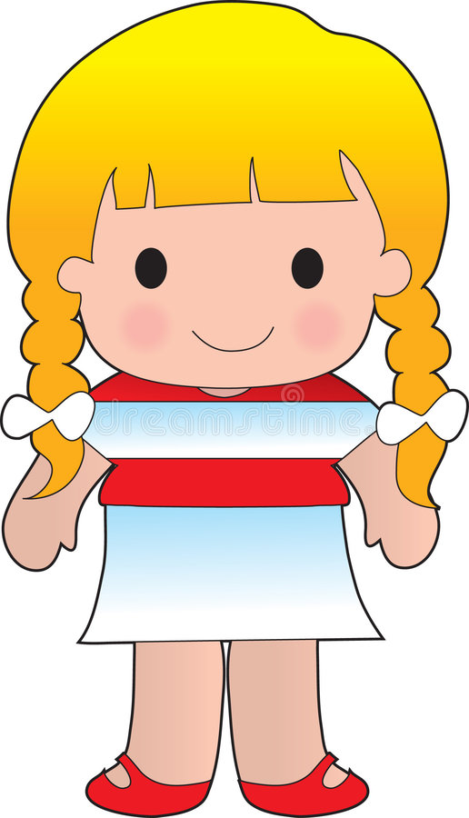 Austrian Poppy. Little girl in a shirt with the Austrian flag on it royalty free illustration