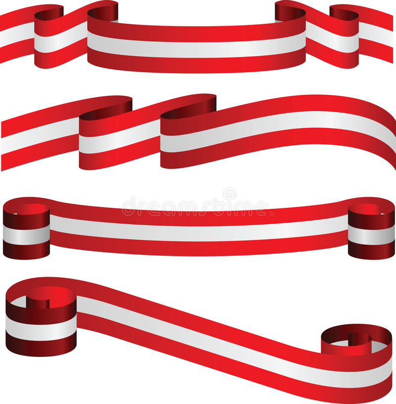 Download Austrian Ribbons In Flag's Colors Isolated On White Stock Illustration - Image: 33067580