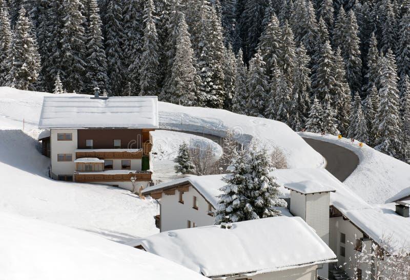 Austrian Winter Scene. Chalets on the side of a mountain, near the village of Warth-Schrocken, in Austria stock photo