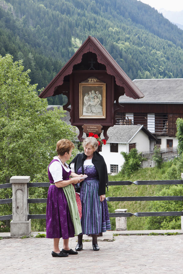 Austrian women in traditional costumes, Maria Luggau royalty free stock photo