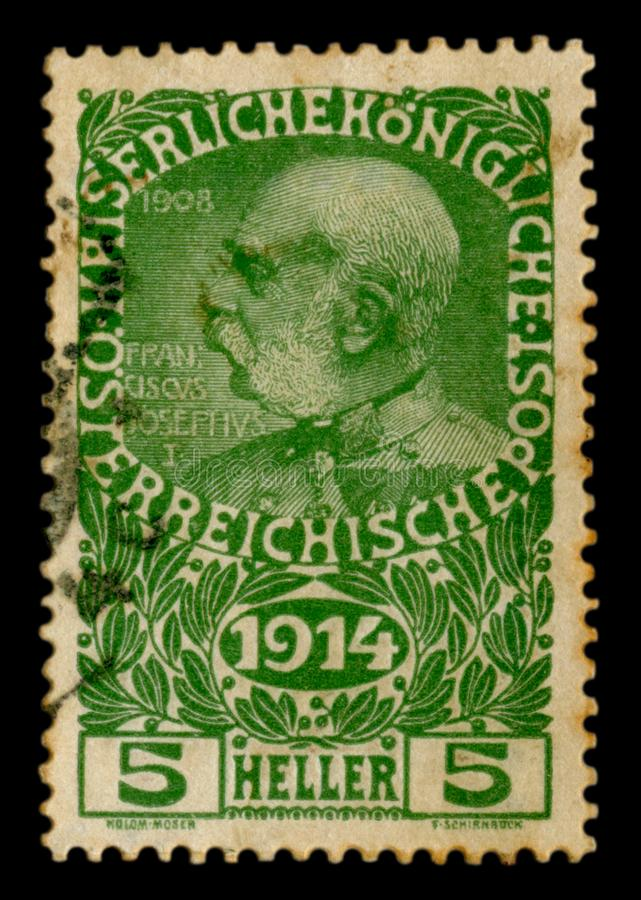 Austro-Hungarian Empire - circa 1914: Austrian historical stamp: portrait of Emperor Franz Joseph I, with the year of the beginnin. G of the great war, 1914 royalty free stock photo