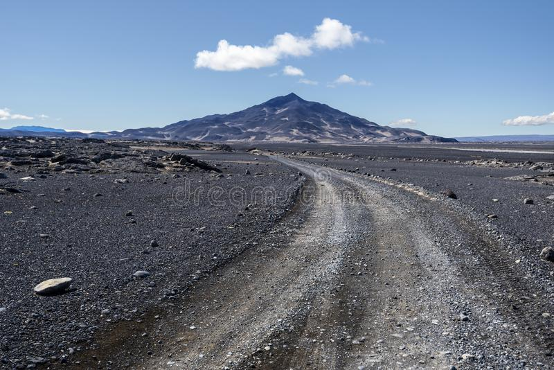 Austurleid road coming through Odadahraun desert in north of Vatnajokull National Park in Central Highlands of Iceland stock photos