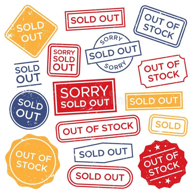 Ausverkauft stempelt Vergriffener Stempel, roter rechteckiger Einkaufsaufkleber und Verkäufe werden Tagvektorsatz deutlich vektor abbildung