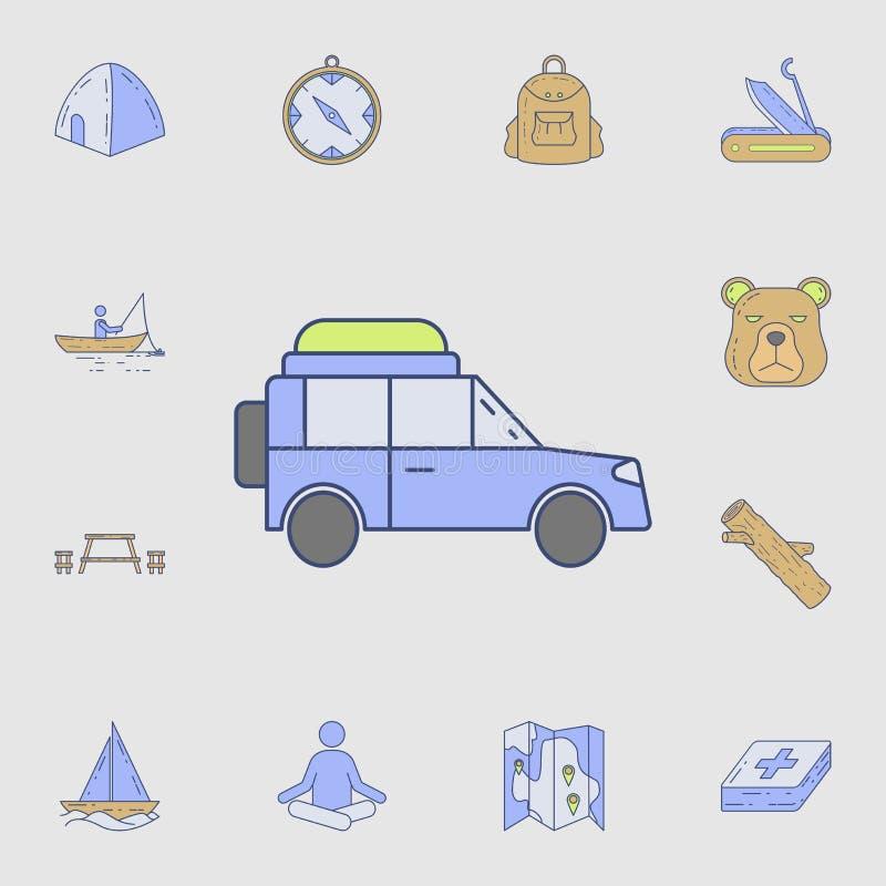 auswärts Autoikone Ausführlicher Satz Farbkampierende Werkzeugikonen Erstklassiges Grafikdesign Eine der Sammlungsikonen für Webs lizenzfreie abbildung