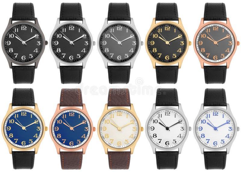 Auswahl der verschiedenen Armbanduhr stockfoto