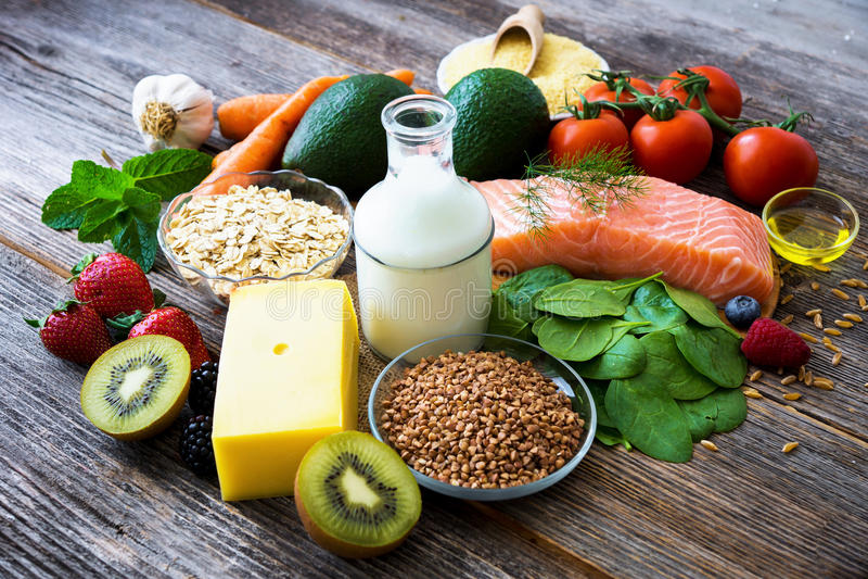 Auswahl des gesunden Lebensmittels lizenzfreie stockfotos