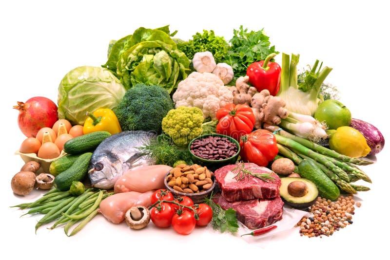 Auswahl von verschiedenen paleo Di?tprodukteen f?r gesunde Nahrung lizenzfreies stockfoto
