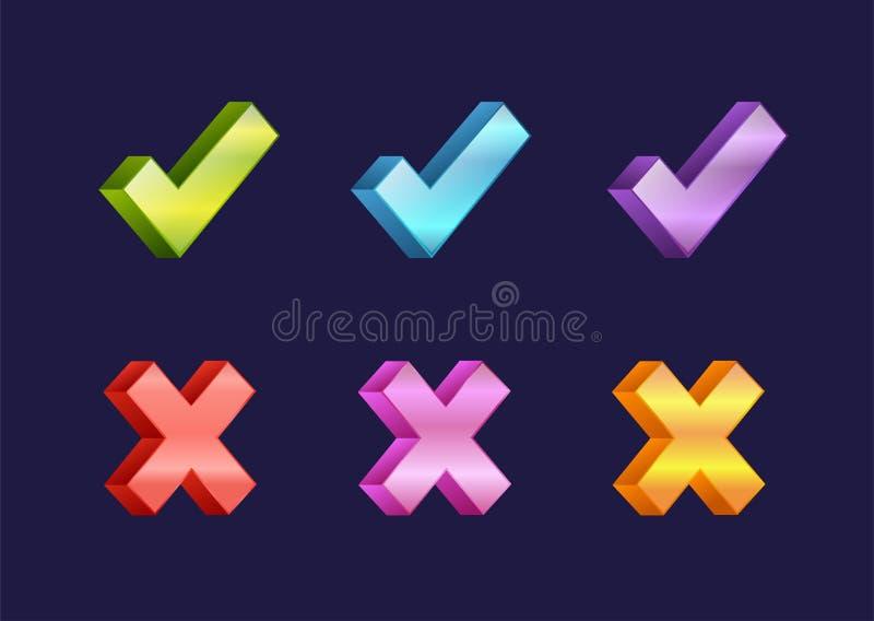 Auswahlkästchenikonen der Abstimmung markieren Symbol der Netzzeichen-Wahl ja und korrigieren form-Knopffrage der rechten Vereinb stock abbildung