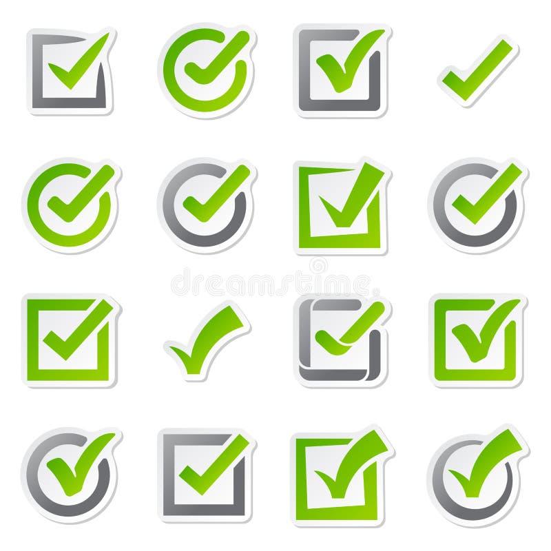 Auswahlkästchenikonen des Abstimmungskennzeichens unterzeichnen Symbol der Wahl ja und korrigieren form-Knopffrage der rechten Ve vektor abbildung