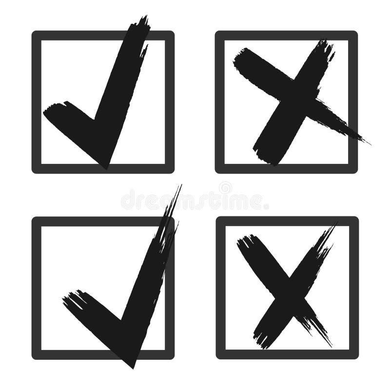 Auswahlkästchenlisten-Ikonensatz, Schwarzes lokalisiert auf weißem Hintergrund, Vektorillustration stock abbildung