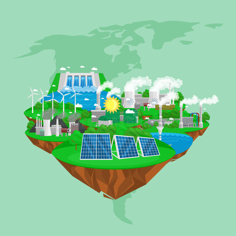 Auswechselbare Ökologieenergieikonen, alternatives Betriebsmittelkonzept der grünen Stadtenergie, neue Technologie der Umweltabwe stockfotografie