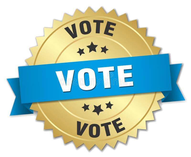 Ausweis der Abstimmung 3d Gold lizenzfreie abbildung