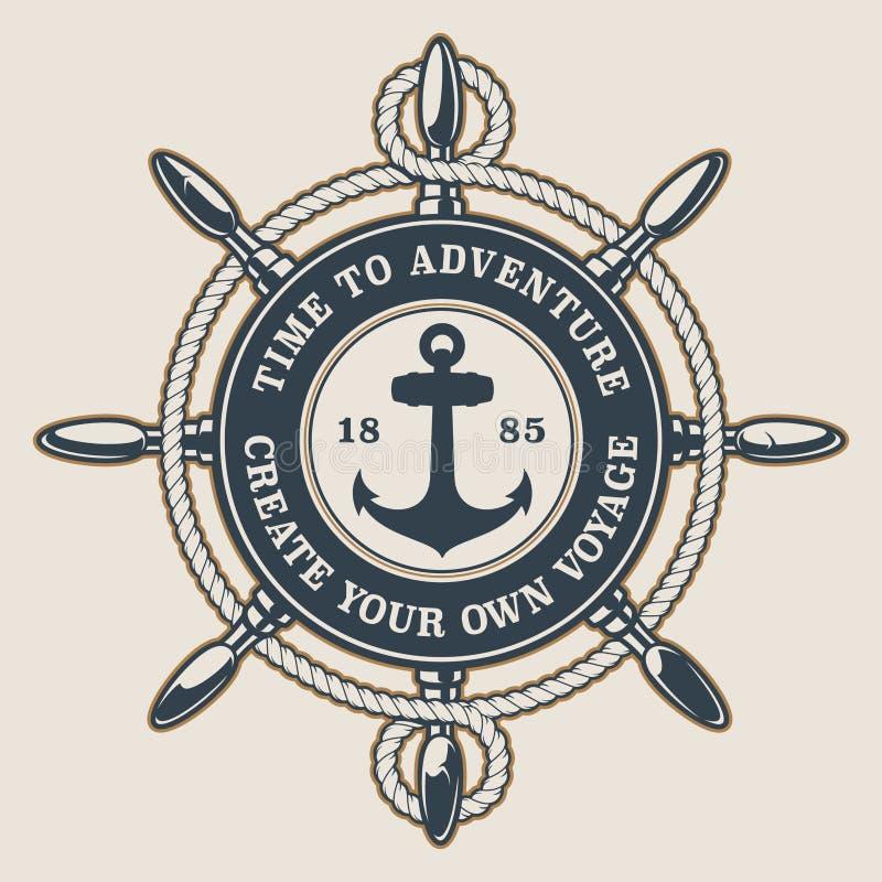 Ausweis mit dem Rad und dem Anker des Schiffs auf einem hellen Hintergrund stock abbildung