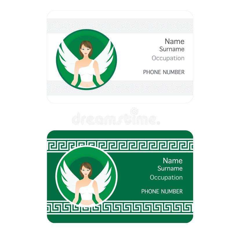 Ausweis mit Mädchen-Engel im Weiß lizenzfreies stockfoto