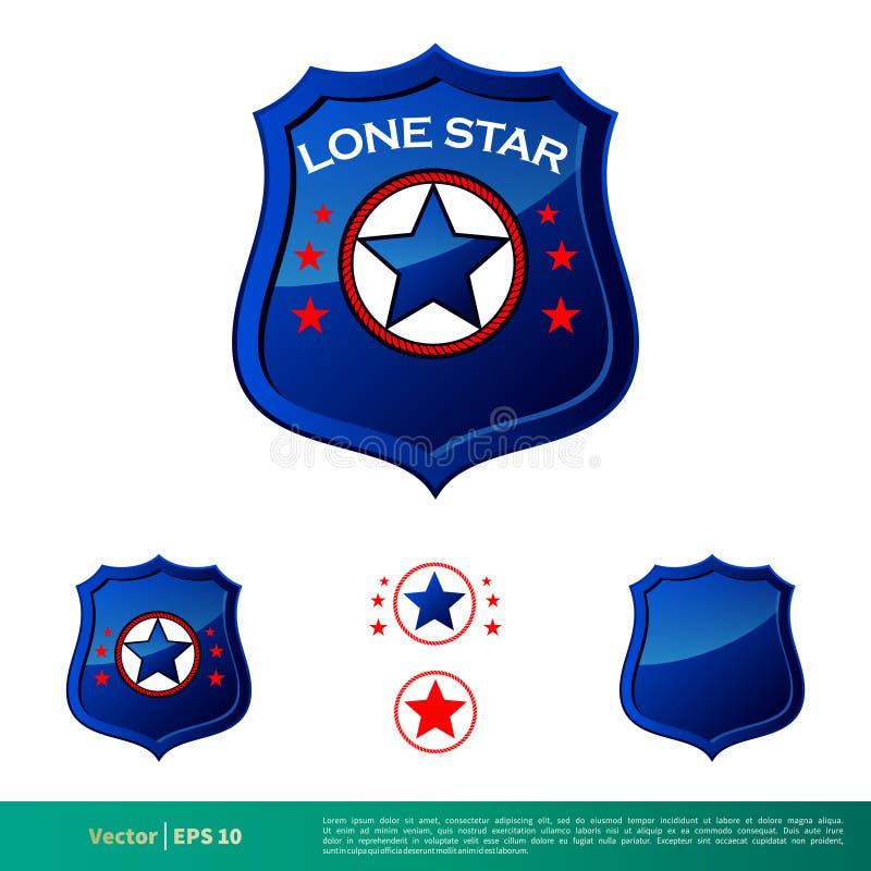 Ausweis-Stern-Polizeidienststelle-Ikonen-Vektor Logo Template Illustration Design Vektor ENV 10 lizenzfreie abbildung