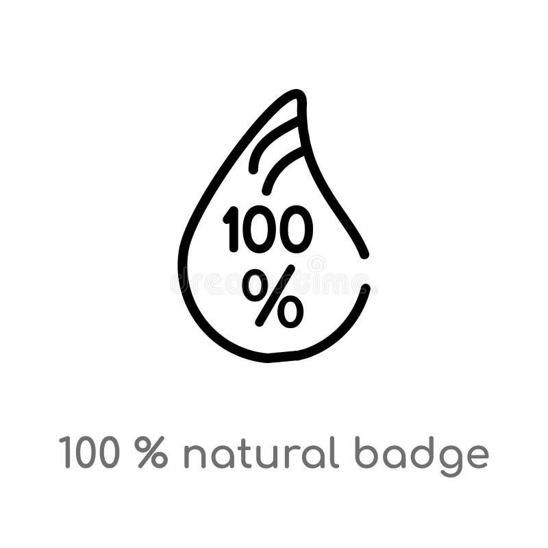Ausweis-Vektorikone des Entwurfs 100% natürliche lokalisiertes schwarzes einfaches Linienelementillustration vom Ökologiekonzept  stock abbildung