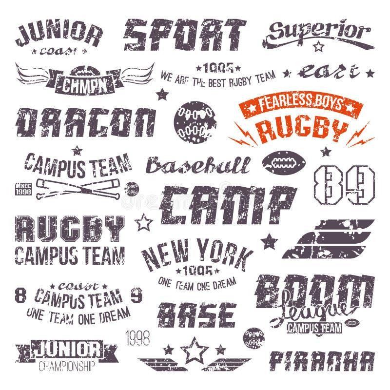 Ausweise Baseball und Rugbycollegeteam vektor abbildung