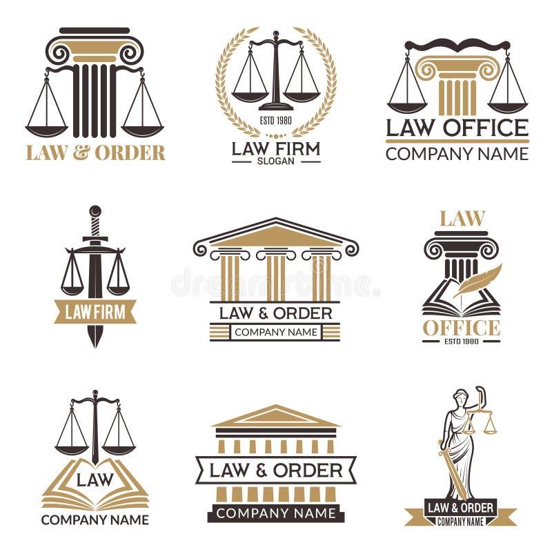 Ausweise des Gesetzes und legales Hammer des Richters, schwarze Illustrationen des Gesetzbuches von den Aufklebern für Rechtswiss stock abbildung