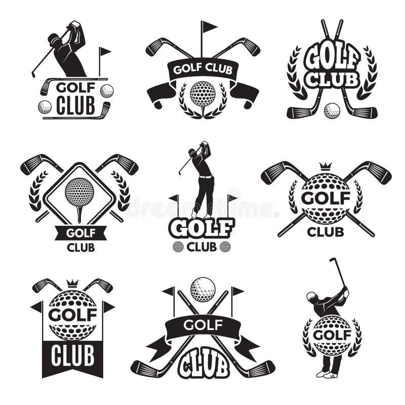 Ausweise oder Logos für Golfclub Einfarbige Bilder lokalisiert auf Weiß vektor abbildung