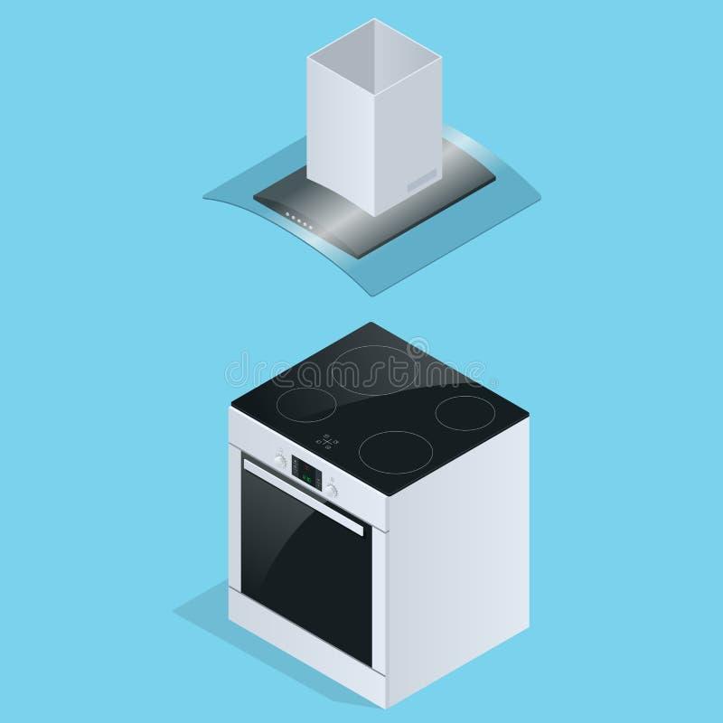 Auszieherhaube und elektrischer Ofen für die Küchenillustration lokalisiert auf weißem Hintergrund lizenzfreie abbildung