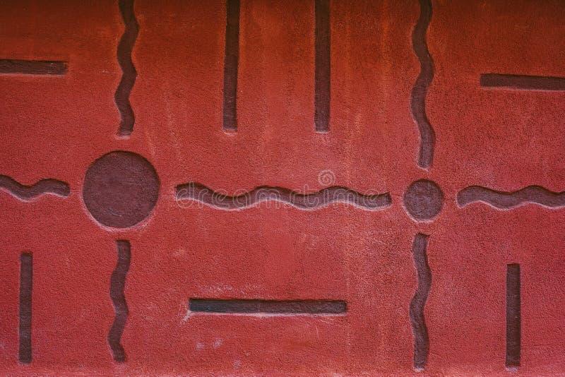 Auszug alte Backsteinmauer Geometrische Verzierung auf einem alten Papier stockfoto