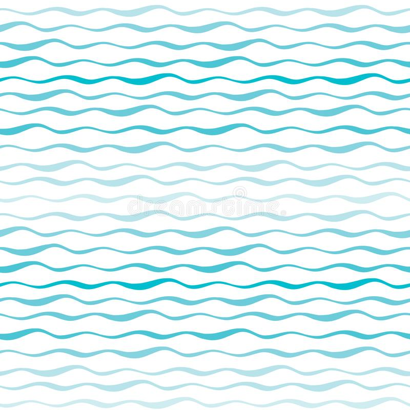 Auszug bewegt nahtloses Muster wellenartig Gewellte Linien des See- oder des Ozeanshand gezeichneten Hintergrundes vektor abbildung