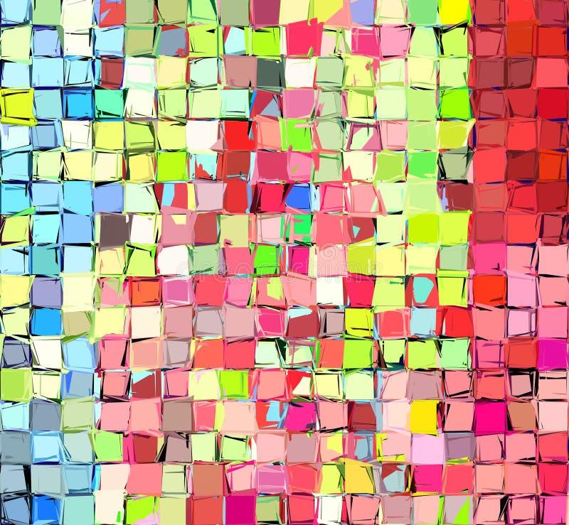 Auszug deckte multi Farbenmosaikhintergrund mit Ziegeln vektor abbildung