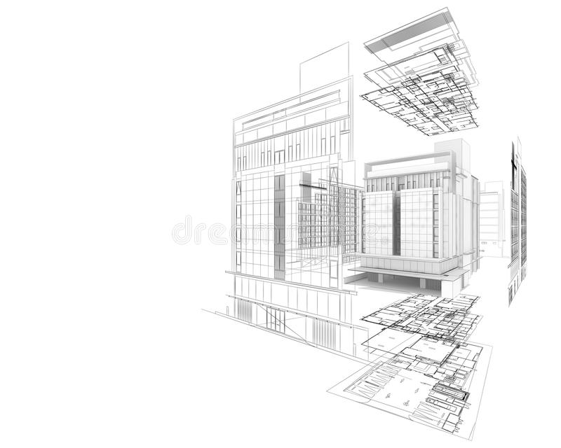 Auszug der Architektur 3D stock abbildung
