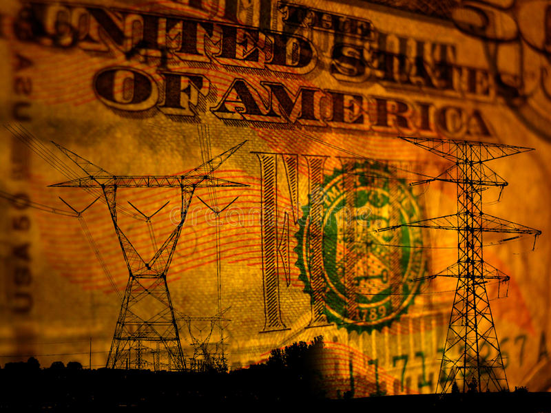 Auszug des Stroms auf Geldhintergrund stockfotos