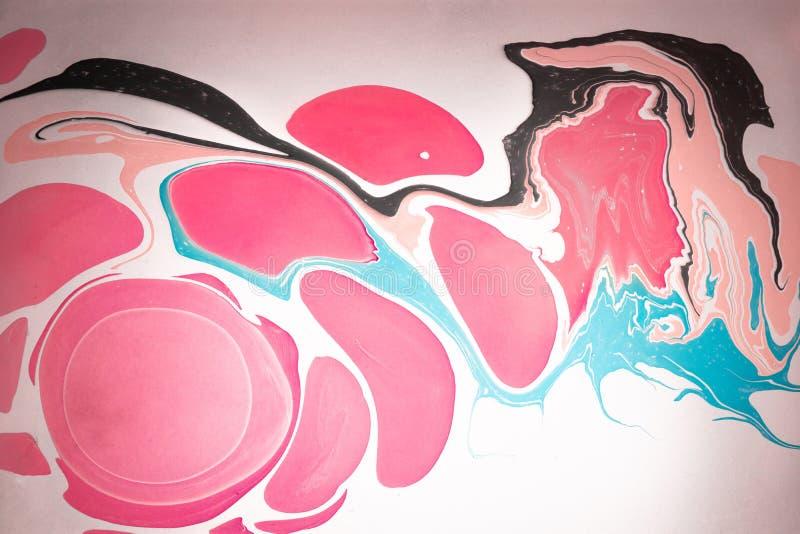 Auszug farbiger Hintergrund Flecke der Farbe auf dem Wasser Ebru-Kunst, gemarmortes Papier lizenzfreie stockfotografie