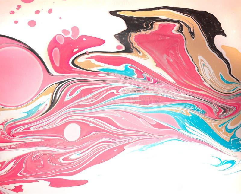 Auszug farbiger Hintergrund Flecke der Farbe auf dem Wasser Ebru-Kunst, gemarmortes Papier stockfoto