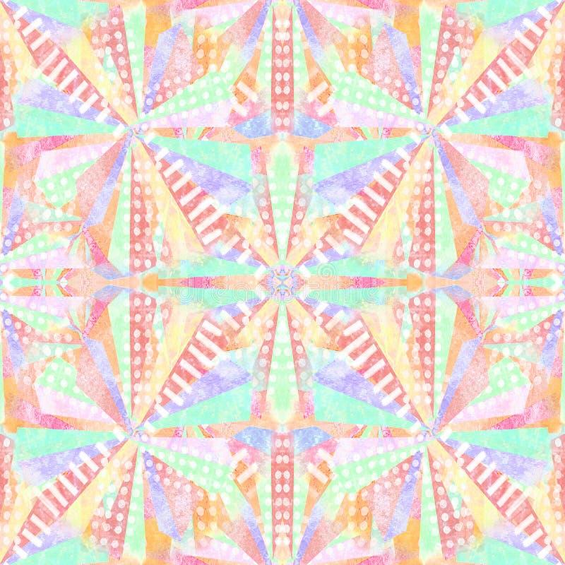 Auszug formt nahtloses Muster Wiederholen Sie geometrischen psychedelischen Mosaikhintergrund Kaleidoskopeffekt lizenzfreie stockbilder