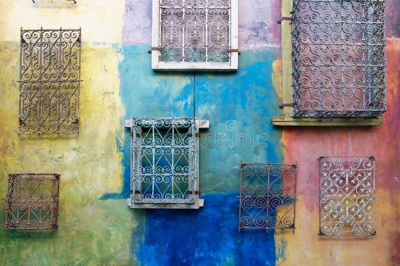 Auszug, grunge, verbließ gemalte Wand lizenzfreies stockbild