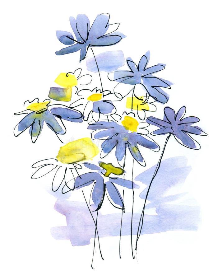 Auszug malte Blumenhintergrund lizenzfreie abbildung