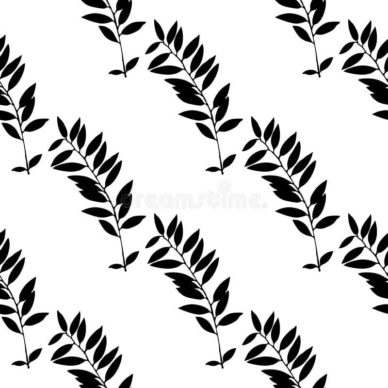 Auszug verlässt nahtloses Muster Hand gezeichnete Blattschattenbilder mit Gekritzelbeschaffenheiten stock abbildung