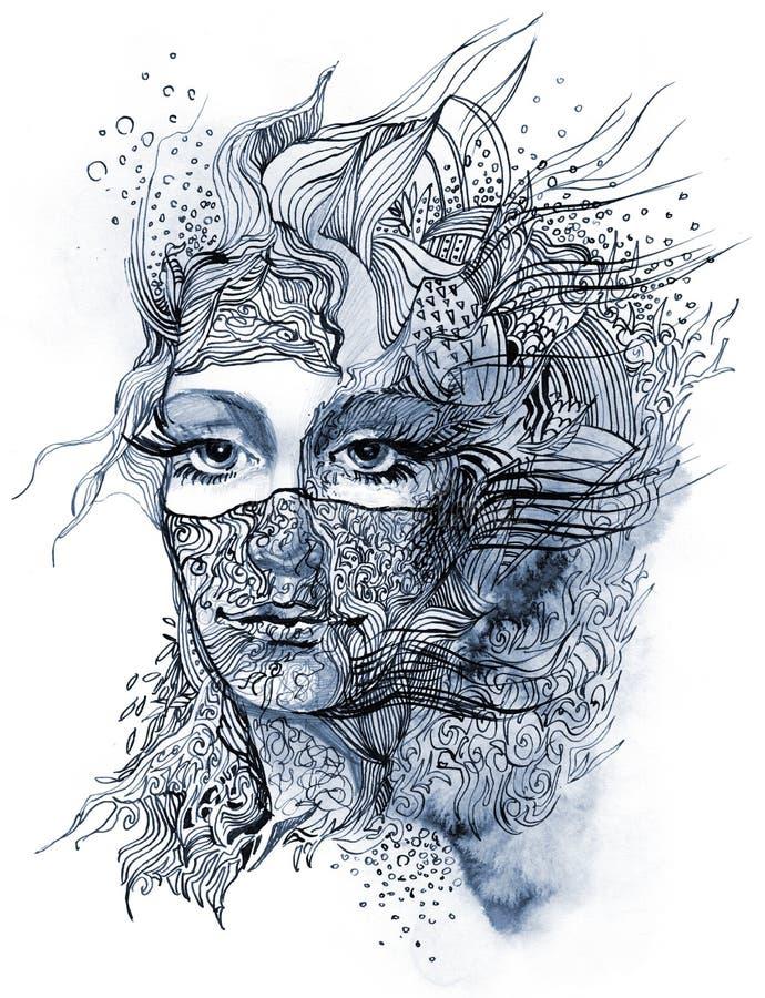 Auszug verzierte Gesicht lizenzfreie abbildung