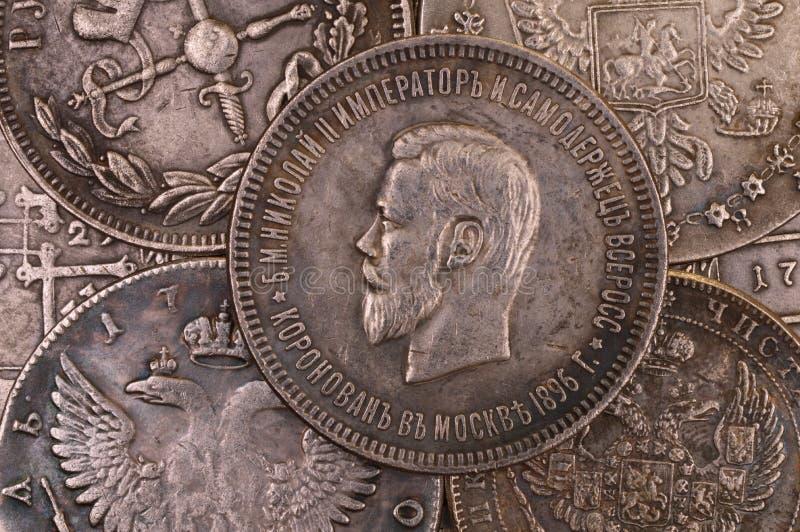 Autócrata de Nicolás II del emperador del ruso de la moneda 1896 de la rublo de la plata del fondo del vintage de toda la Rusia imagen de archivo libre de regalías