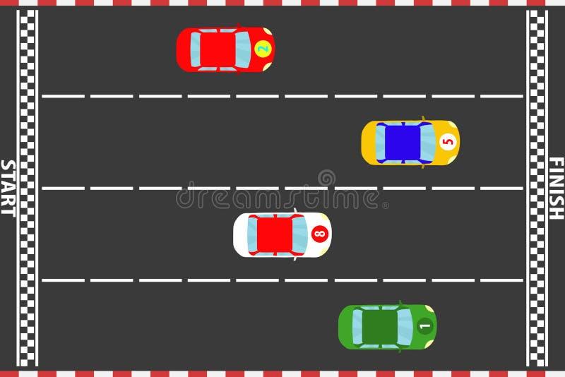 Autódromo, condução de carros dos esportes no autódromo ilustração do vetor