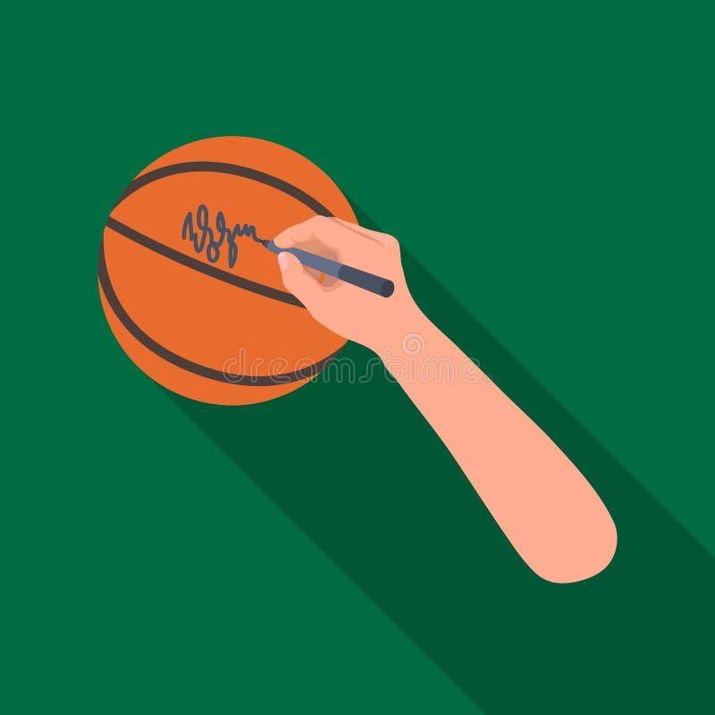 Autógrafo en una bola de la cesta Solo icono del baloncesto en web plano del ejemplo de la acción del símbolo del vector del esti stock de ilustración